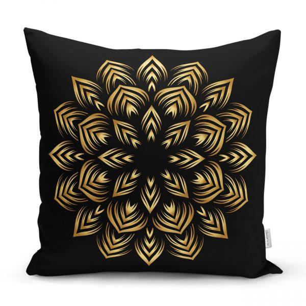 Siyah Zeminde Gold Mandala Motifli Yastık Kılıfı Realhomes