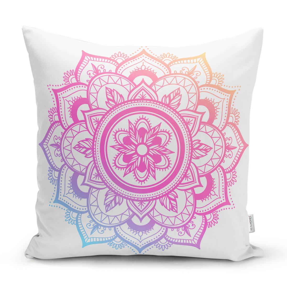 Beyaz Zeminde Pembe Mavi Mandala Desenli Özel Tasarım Kırlent Kılıfı Realhomes