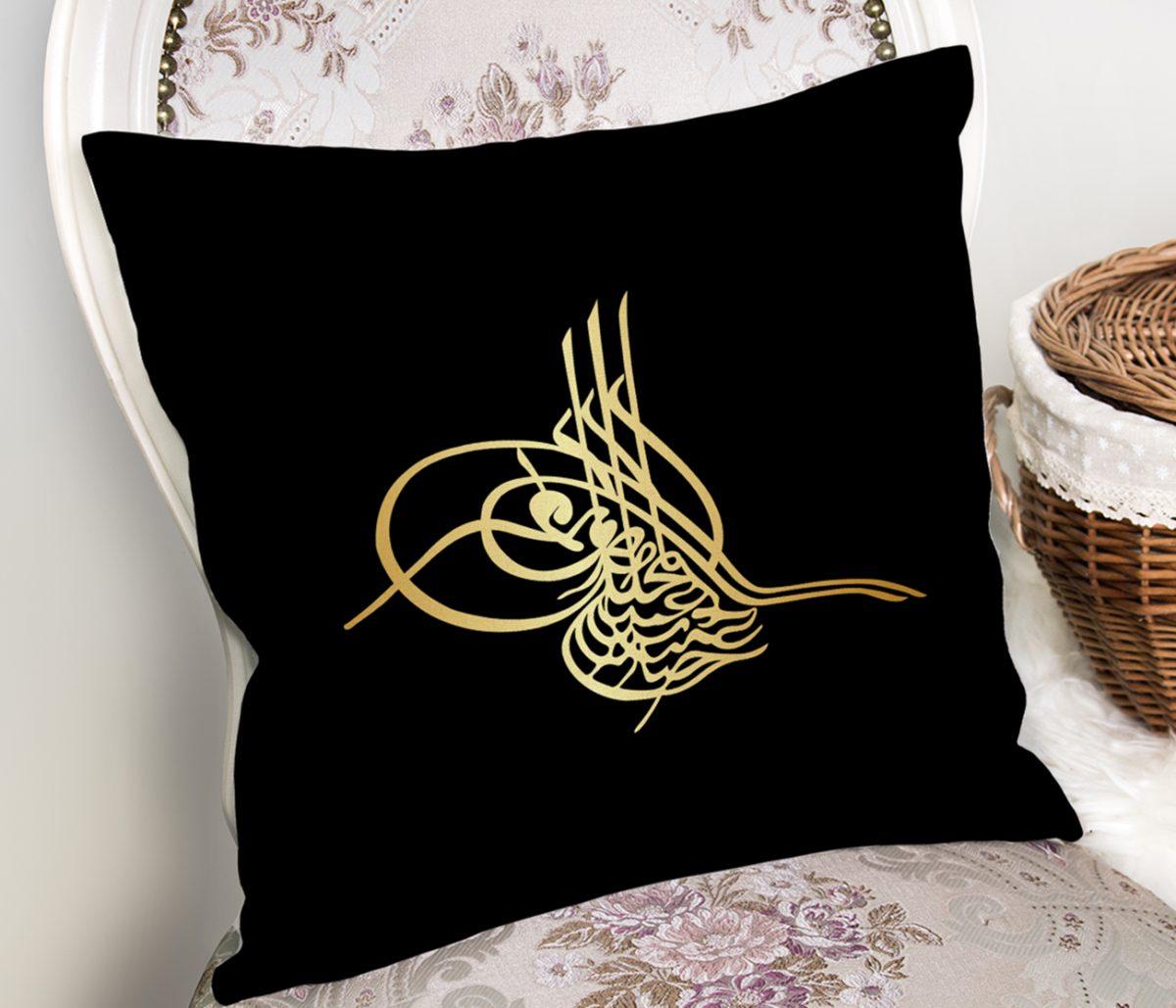 RealHomes Siyah Zeminde Gold Osmanlı Turası Özel Tasarım Dijital Baskılı Kırlent Kılıfı Realhomes