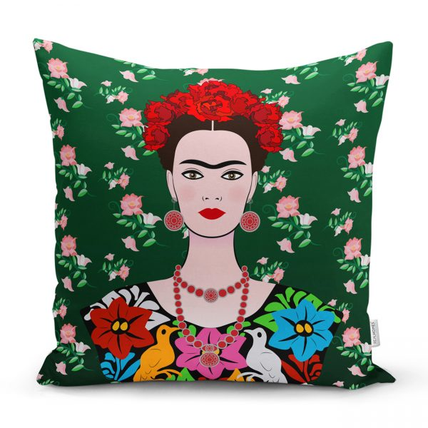 Yeşil Zeminde Frida Kahlo Motifli Özel Tasarım Yastık Kılıfı Realhomes