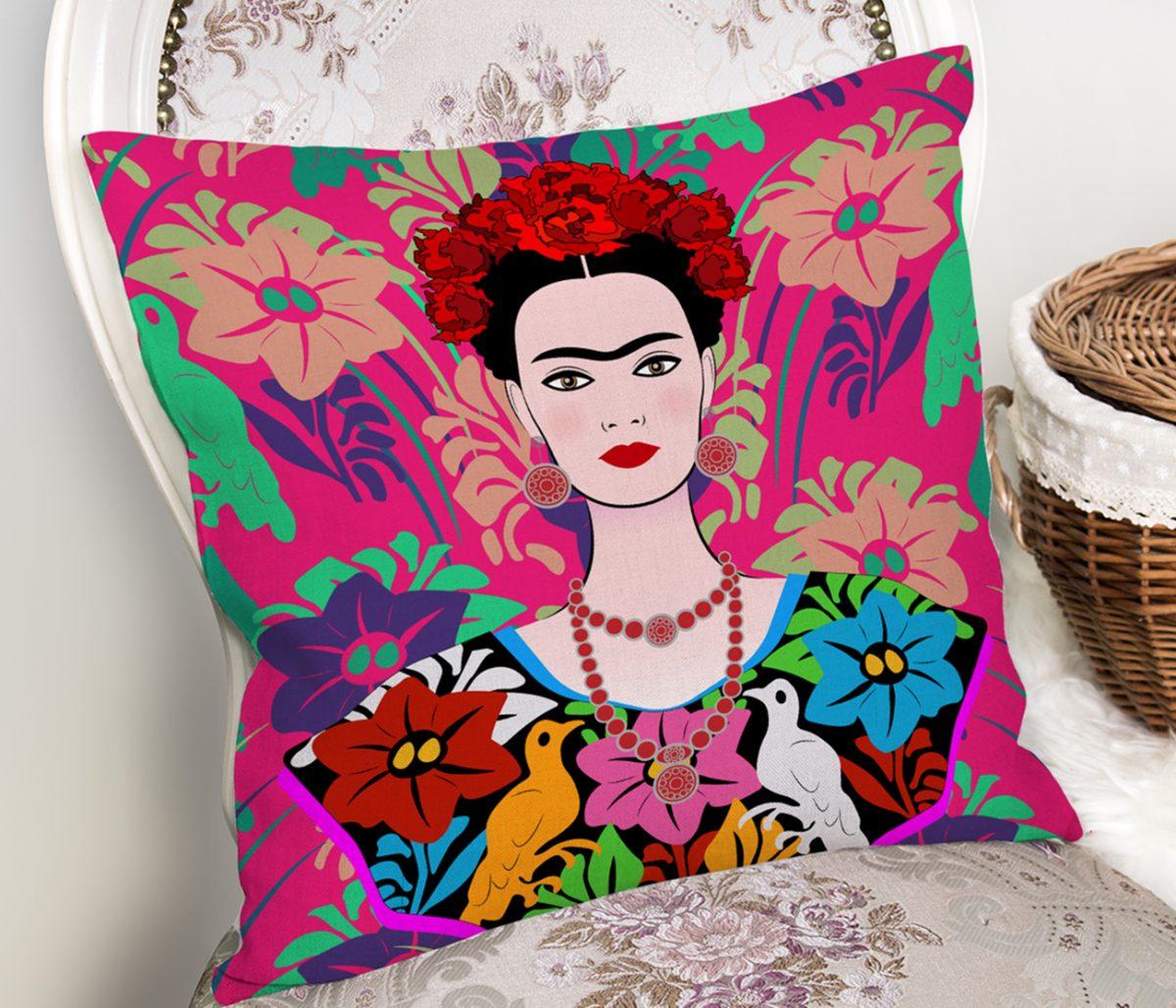 Fuşya Zeminde Frida Kahlo Motifli Özel Tasarım Kırlent Kılıfı Realhomes