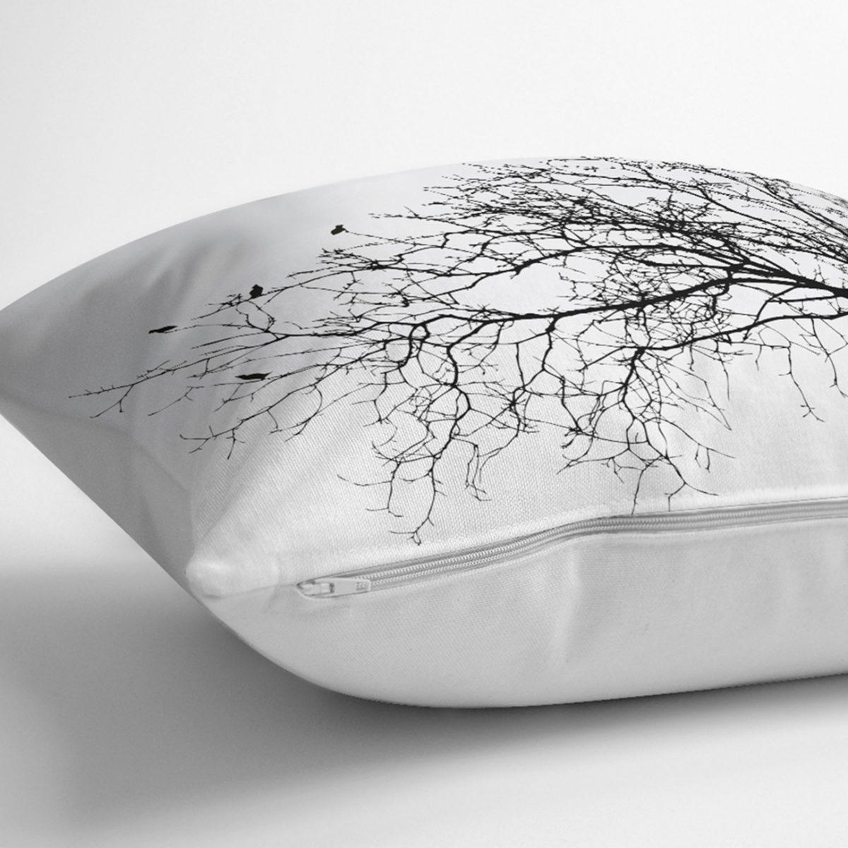Realhomes Ağaç Dalı Kuş Tasarımlı Dijital Baskılı Kırlent Kılıfı Realhomes