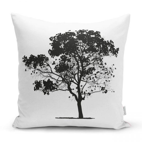Dekoratif Doğa Çizimli Ağaç Motifli Kırlent Kılıfı Realhomes