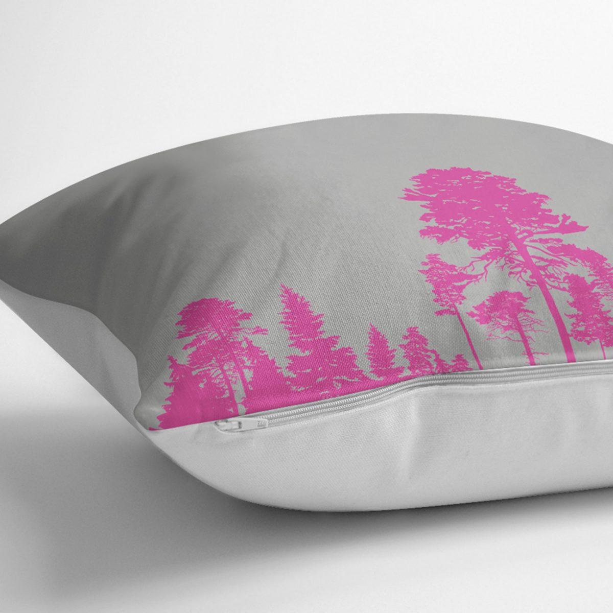 RealHomes Gri Zeminde Fuşya Ağaç Tasarımlı Dekoratif Yastık Kılıfı Realhomes