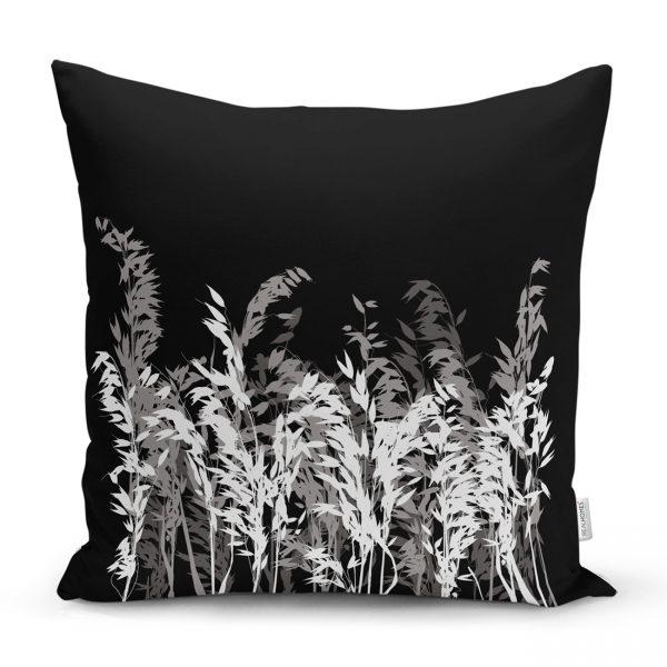 Siyah Zeminde Beyaz Ve Gri Çiçek Temalı Özel Tasarım Kırlent Kılıfı Realhomes