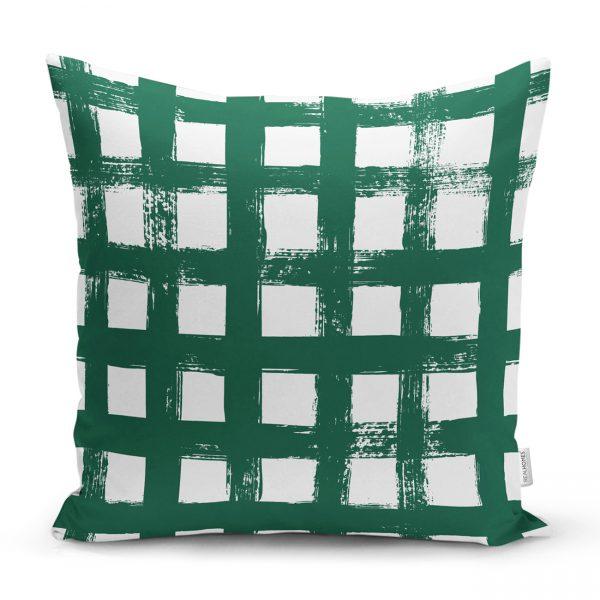 Koyu Yeşil Geometrik Kare Motifli Dekoratif Yastık Kılıfı Realhomes