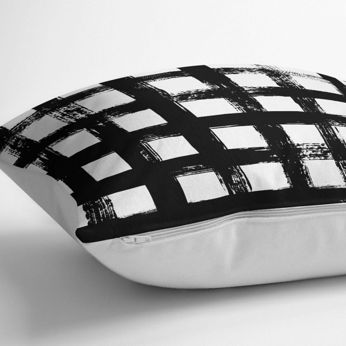 Siyah Zeminde Geometrik Kare Motifli Dekoratif Yastık Kılıfı Realhomes