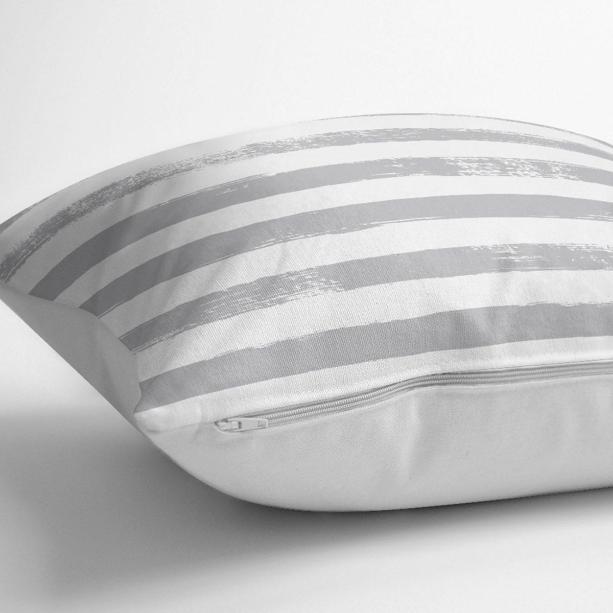 Gri Çizgili Motifli Dekoratif Modern Yastık Kılıfı Realhomes
