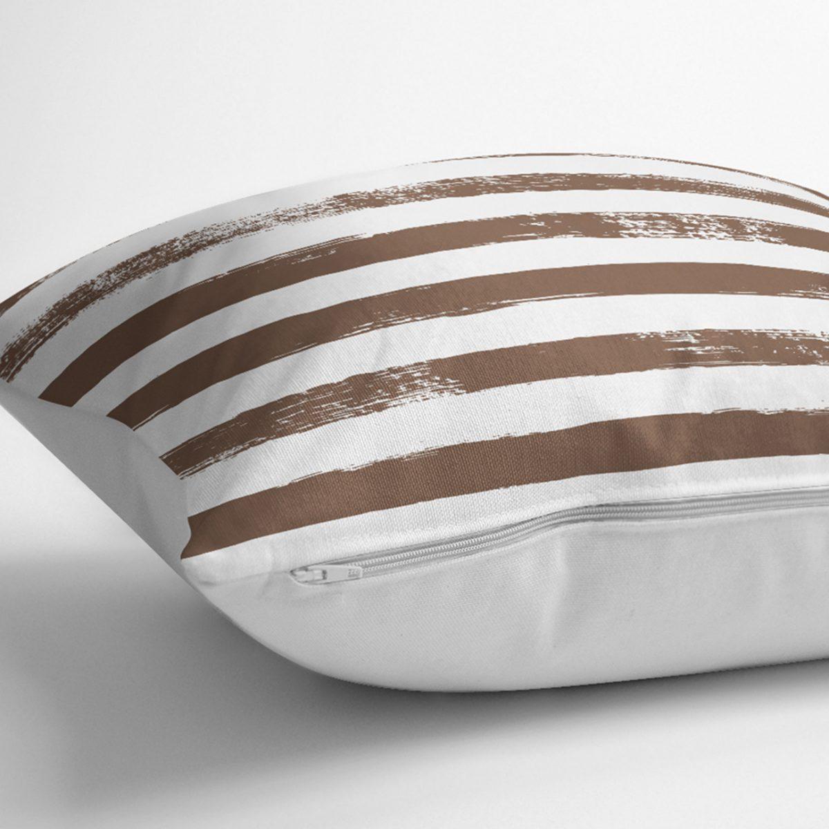 Kahve Çizgili Motifli Dekoratif Modern Yastık Kılıfı Realhomes