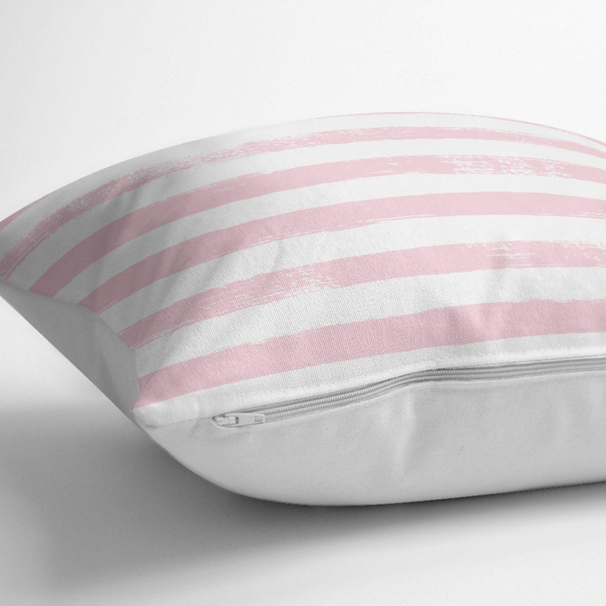 Pembe Çizgili Motifli Dekoratif Modern Yastık Kılıfı Realhomes