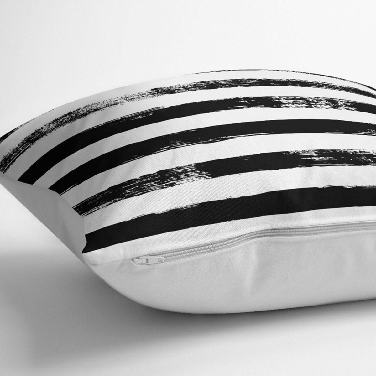 Siyah Çizgili Motifli Dekoratif Modern Yastık Kılıfı Realhomes