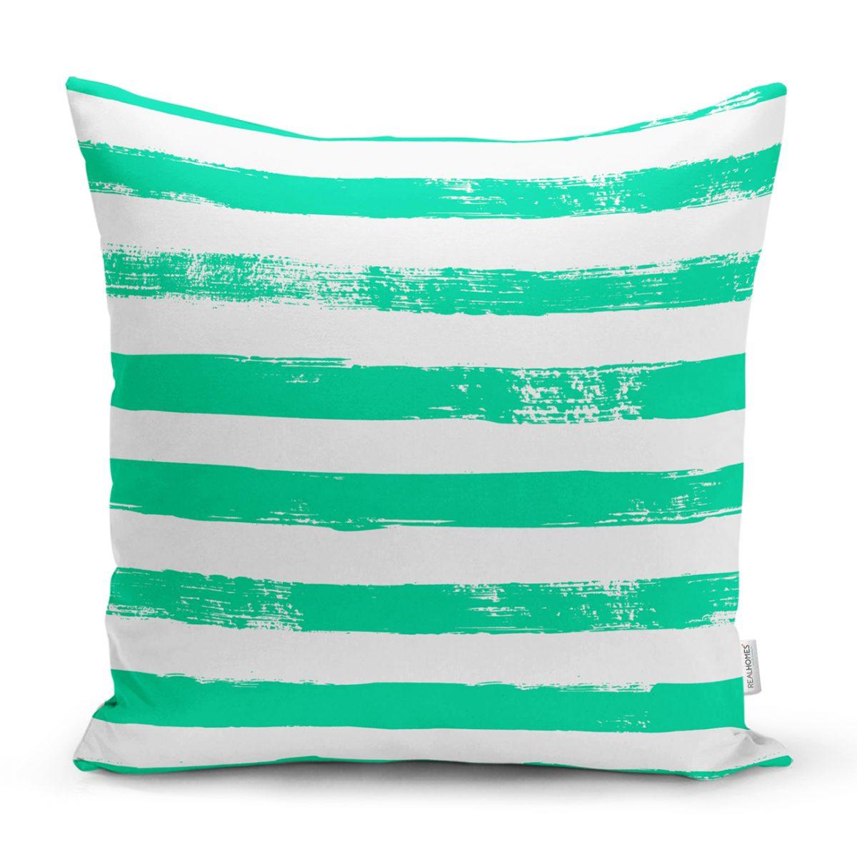 Yeşil Çizgili Motifli Dekoratif Modern Yastık Kılıfı Realhomes