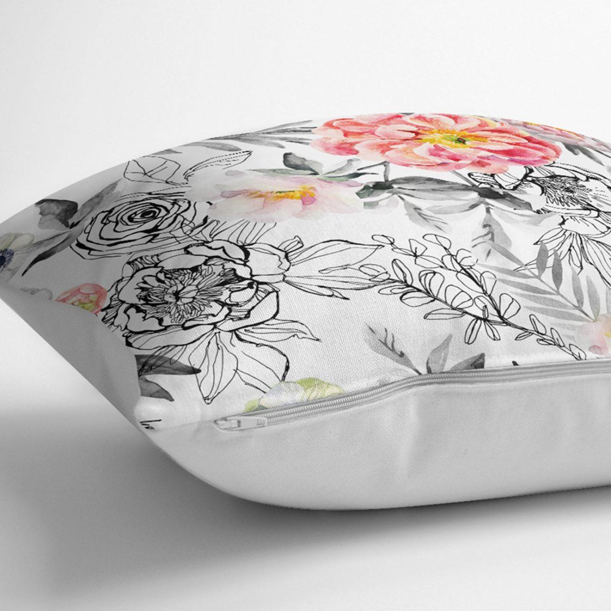 Karakalem Çizim Gül Motiflı Özel Tasarım Kırlent Kılıfı Realhomes