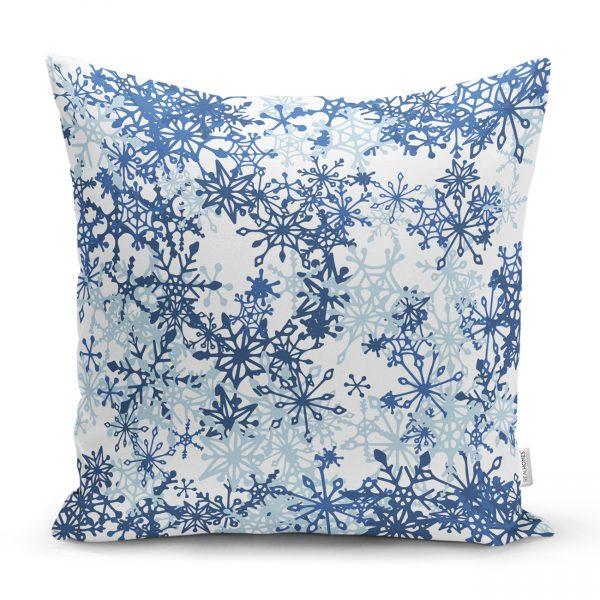 Beyaz Zeminde Mavi Kristal Ve Yıldız Motifli Özel Tasarım Modern Kırlent Kılıfı Realhomes