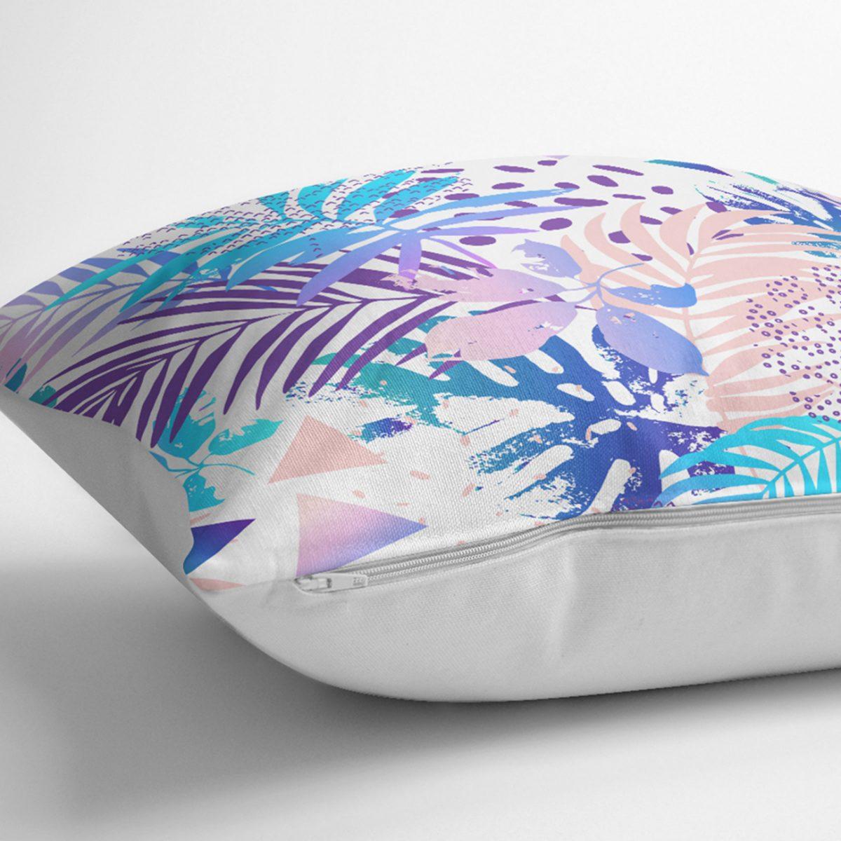 Beyaz Zemind Renkli Ananas Yaprakları Desenli Dijital Baskılı Modern Kırlent Kılıfı Realhomes