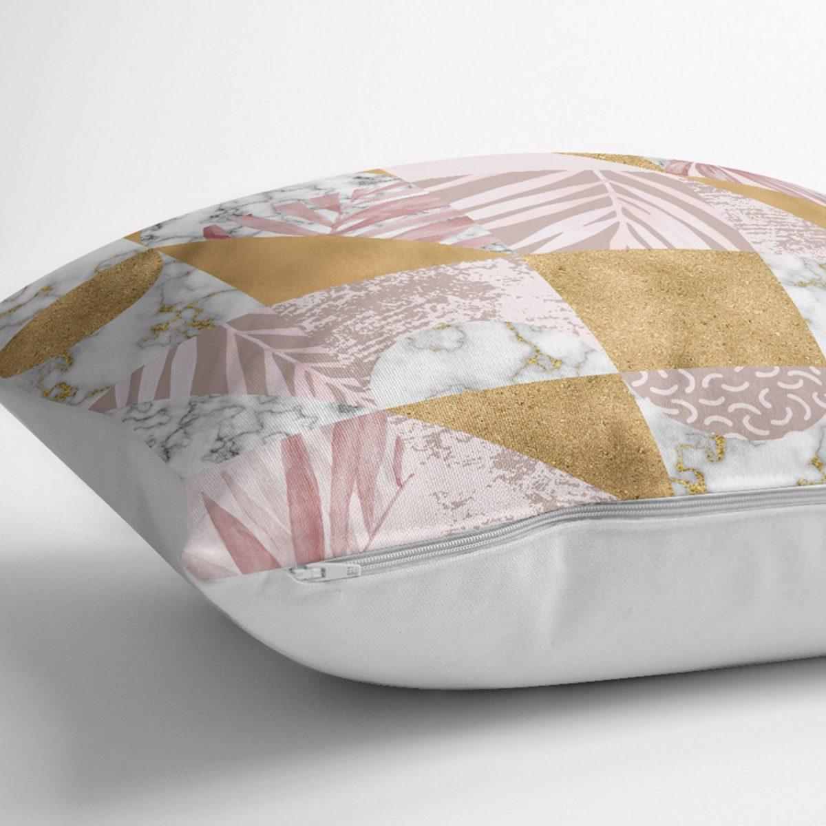 Altın Zeminde Mermer Desenli Dijital Baskılı Kırlent Kılıfı Realhomes