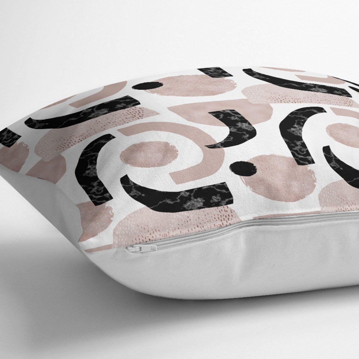 Beyaz Zeminde Soyut Geometrik Çizim Motifli Kırlent Kılıfı Realhomes