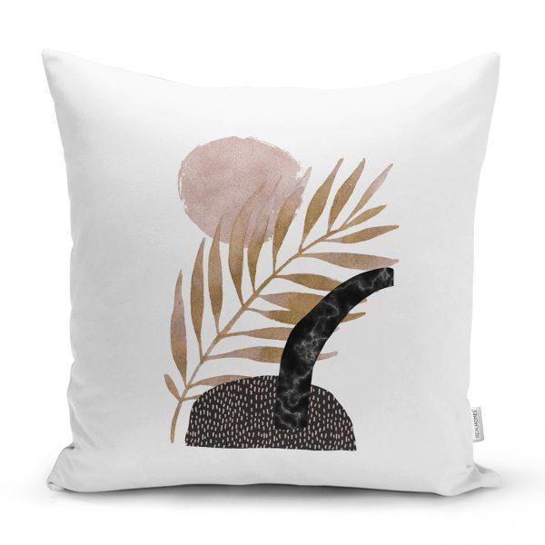 Beyaz Zeminde Sulu Boya Soyut Motifli Dekoratif Kırlent Kılıfı Realhomes