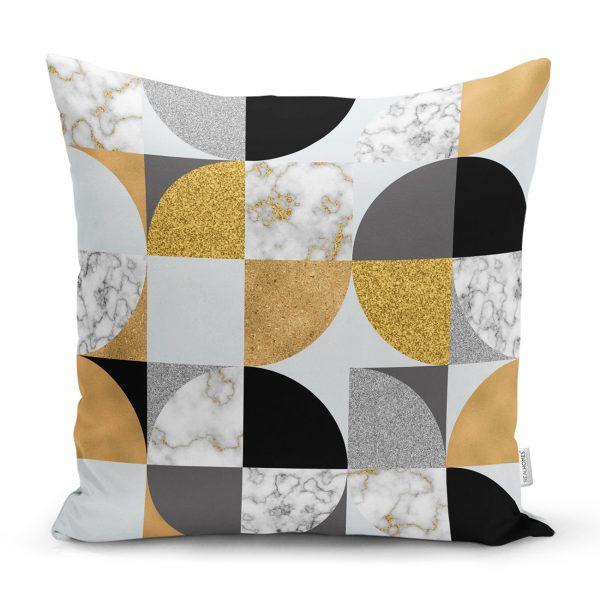 Geometrik Şekiller İçerisinde Gold Ve Siyah Ayrıntı Motifli Dekoratif Yastık Kılıfı Realhomes