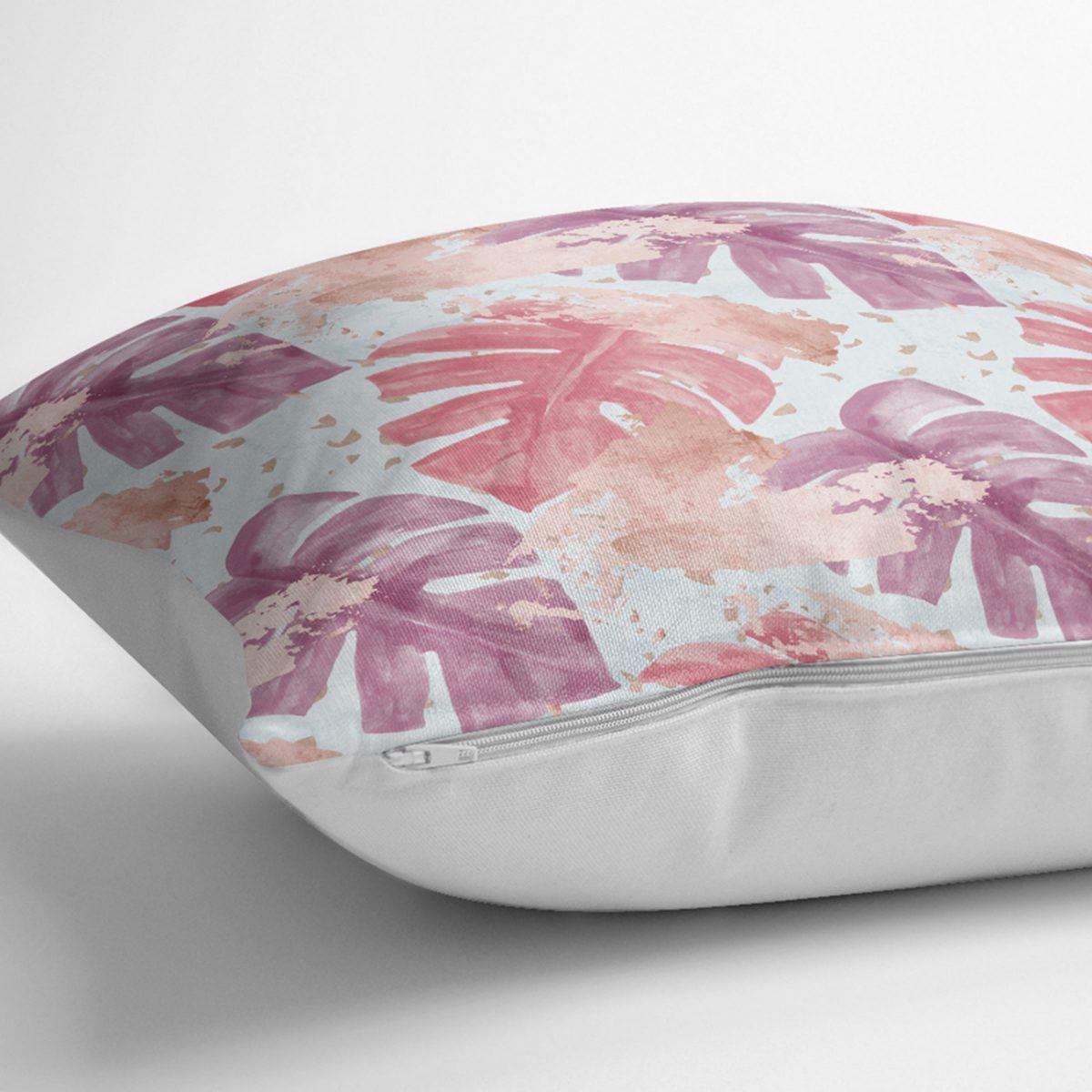 Sulu Boya Tropik Yaprak Desenli Özel Tasarım Modern Kırlent Kılıfı Realhomes