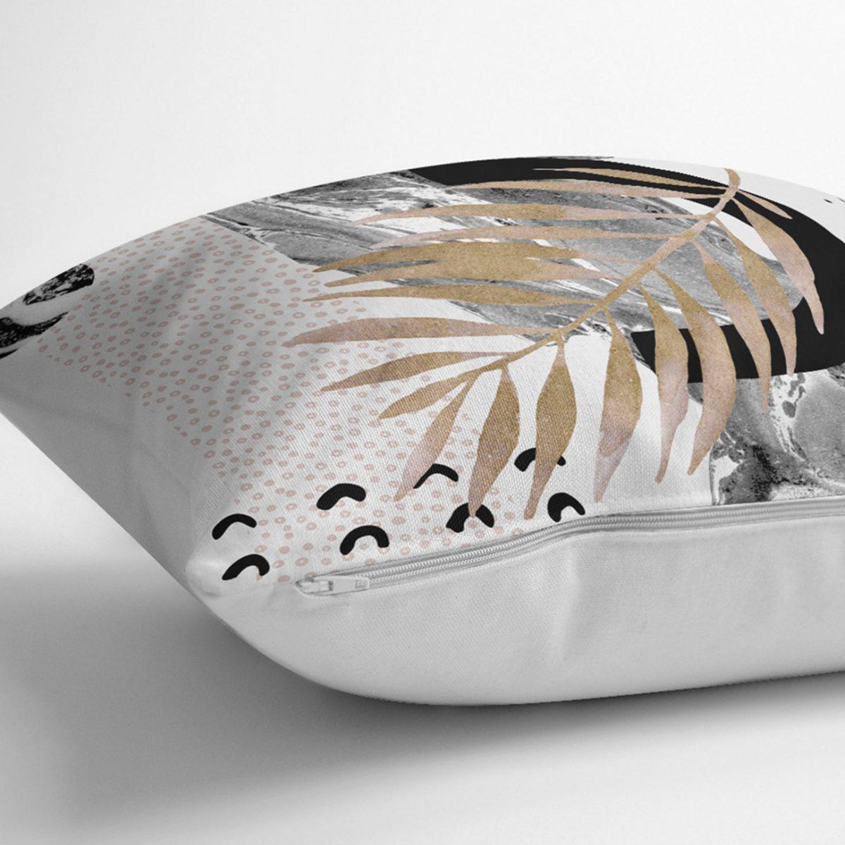 Soyut Çizim Altın Yaprak Desenli Özel Tasarım Dekoratif Kırlent Kılıfı Realhomes
