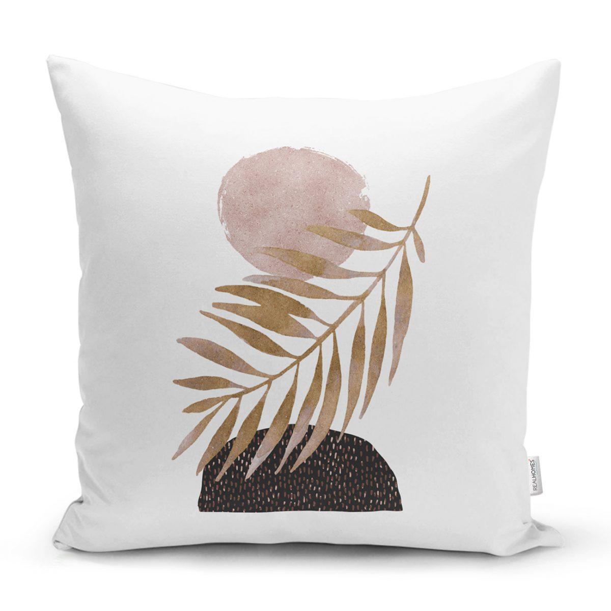 Beyaz Zeminde Soyut Çizim Ay Ve Yaprak Motifli Kırlent Kılıfı Realhomes