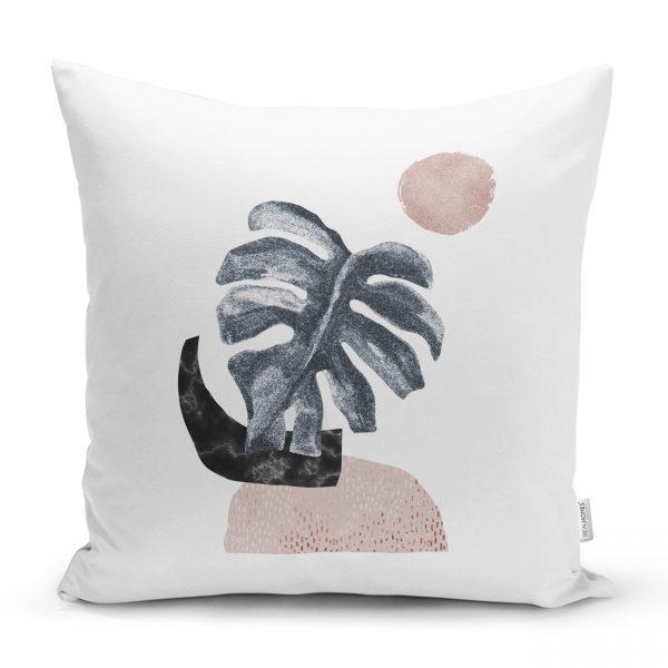 Beyaz Zeminde Tropik Yaprak Desen Dijital Baskılı Kırlent Kılıfı Realhomes