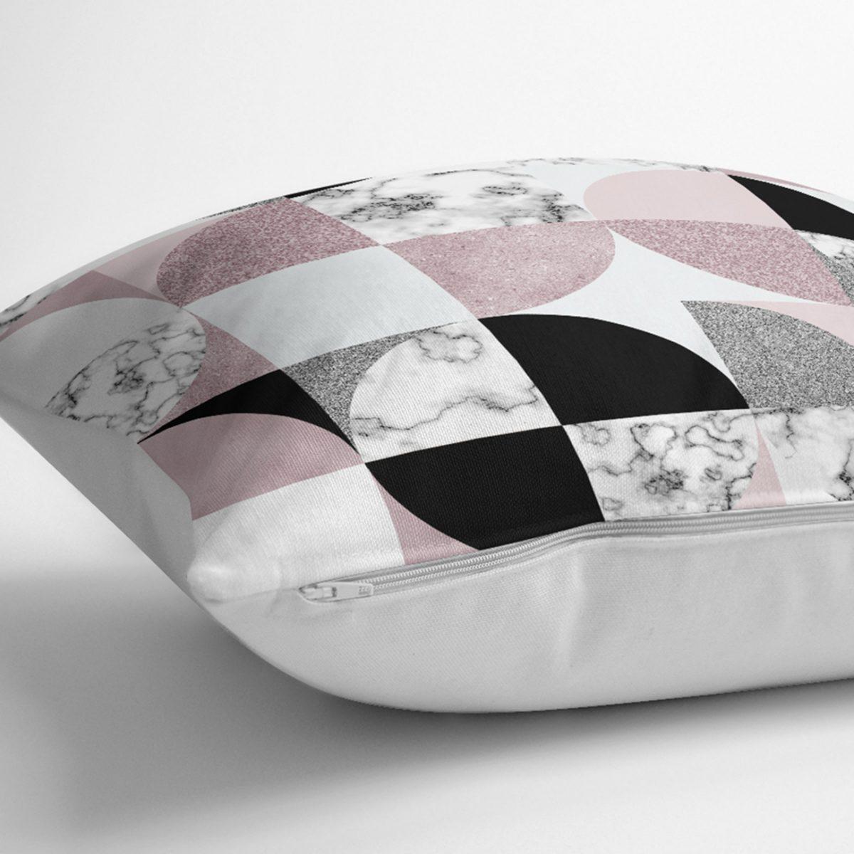 Geometrik Şekiller İçerisinde Fuşya Mermer Desenli Modern Yastık Kılıfı Realhomes