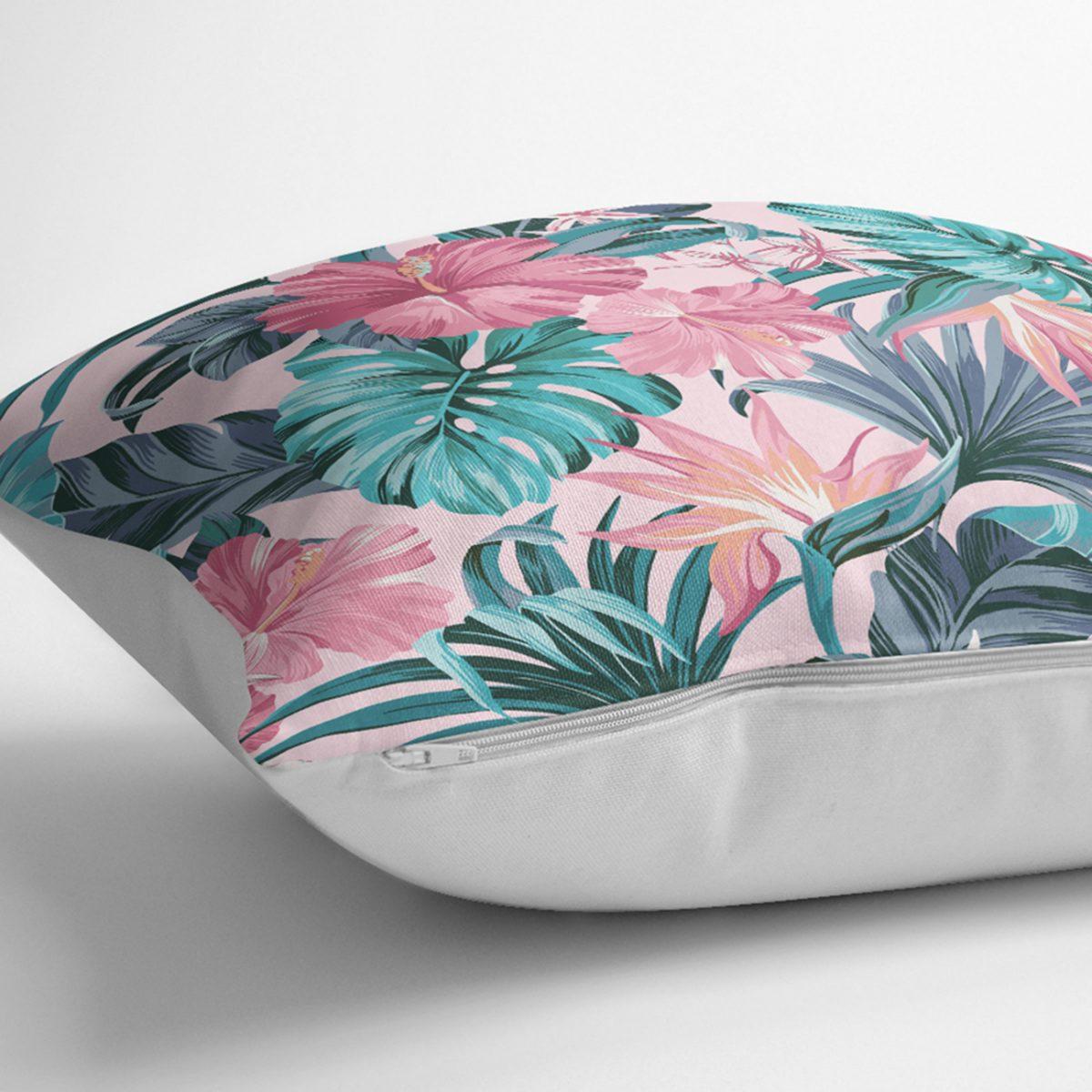 Pembe Zeminde Canlı Tropik Yaprakları Dijital Baskılı Kırlent Kılıfı Realhomes