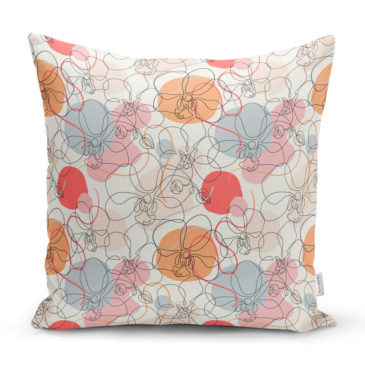 Kırmızı Ve Turuncu Puantiyeli Zeminde Karakalem Çiçek Motifli Kırlent Kılıfı Realhomes