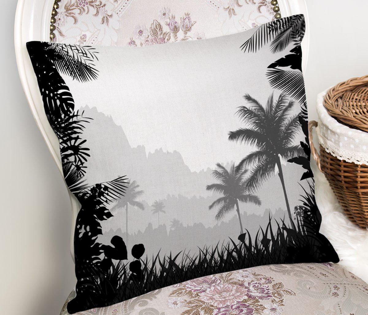Doğa Temalı Palmiye Ağaç Desenli Kırlent Kılıfı Realhomes