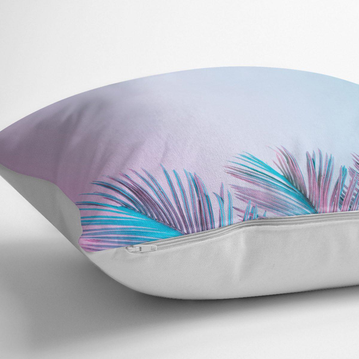 Toz Mavisi Zeminli Tropik Yapraklı Özel Tasarım Dijital Baskılı Modern Dekoratif Kırlent Kılıfı Realhomes