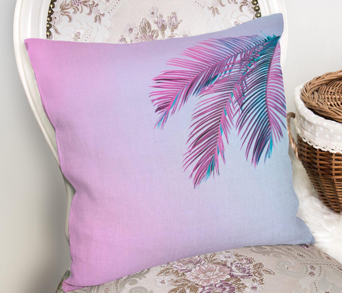 Toz Mavisi Zeminli Tropik Yapraklı Özel Tasarım Moderen Yastık Kılıfı Realhomes