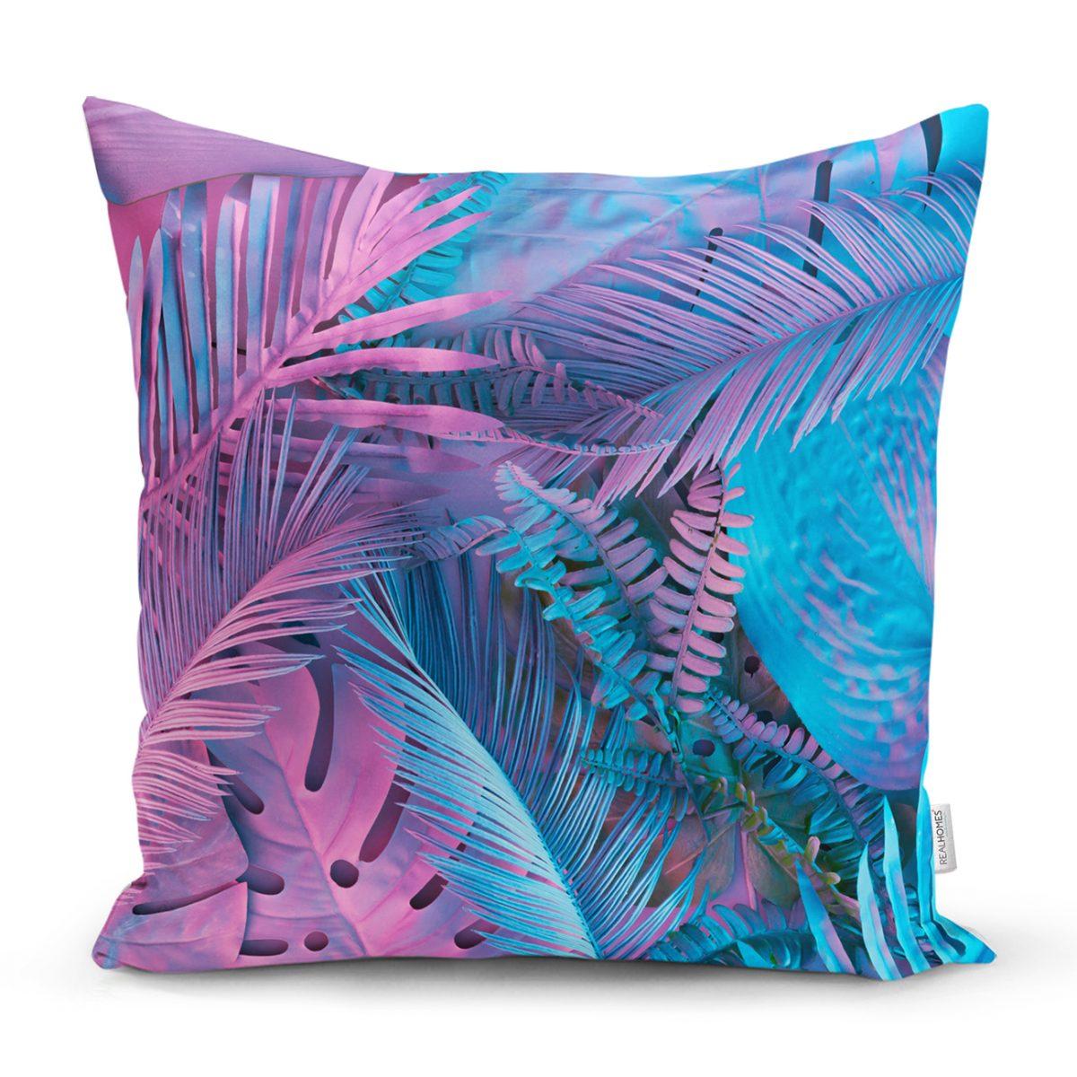 Tropik Yapraklı Özel Tasarım Dijital Baskılı Modern Dekoratif Kırlent Kılıfı Realhomes
