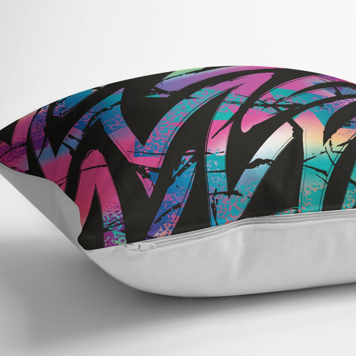 Siyah Zemin Üzerinde Neon Zigzag Desenli Dekoratif Kırlent Kılıfı Realhomes