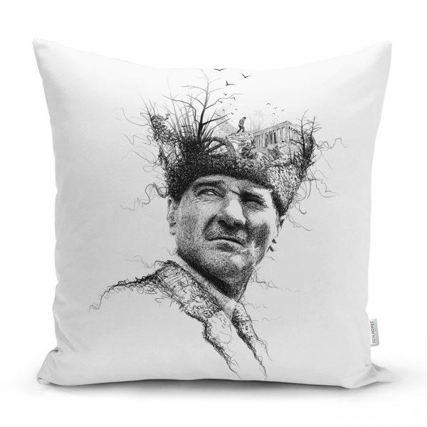 Karakalem Atatürk Portresi Dekoratif Kırlent Kılıfı Realhomes