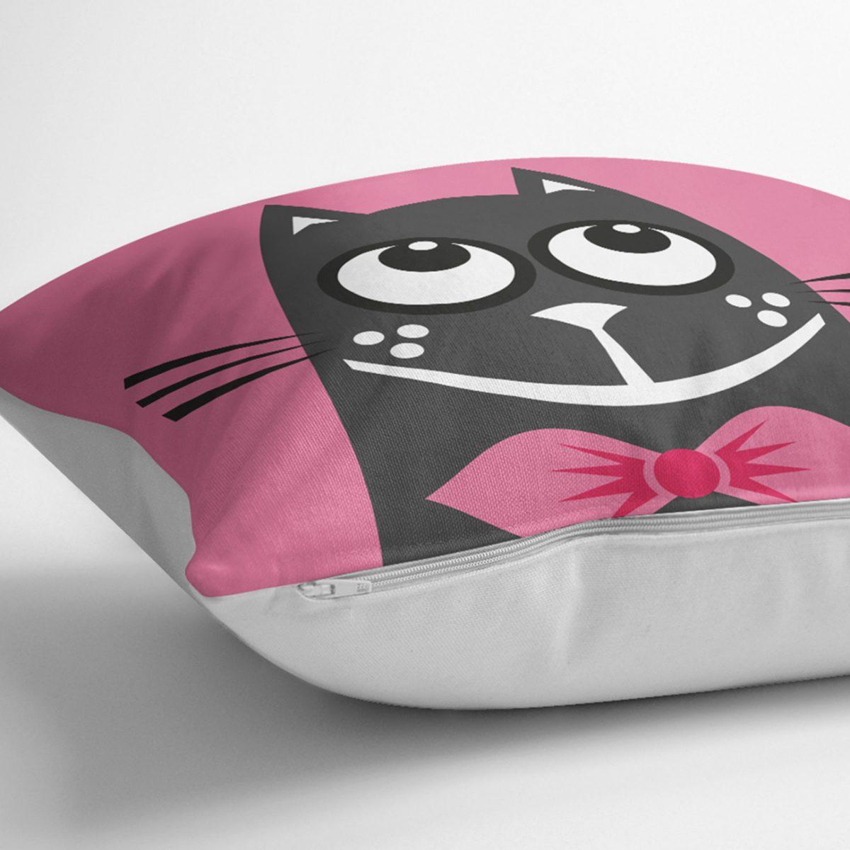 Çizgi Film Karakterli Pembe Zeminde Kedi Modern Kırlent Kılıfı Realhomes