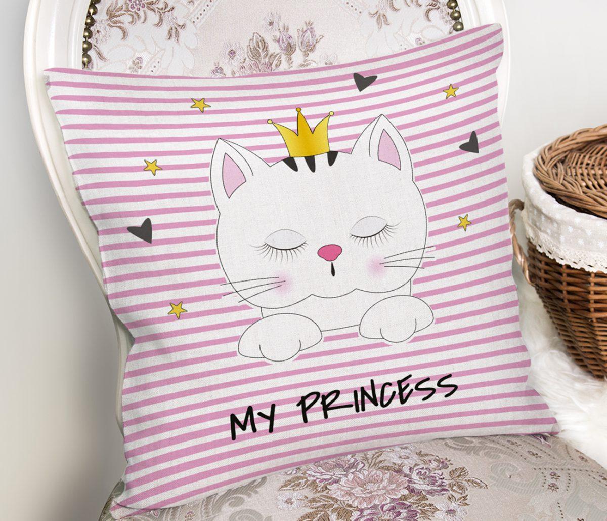 My Princess Pembe Çizgiler Üzerinde Taçlı Kedicik Yastık Kılıfı Realhomes