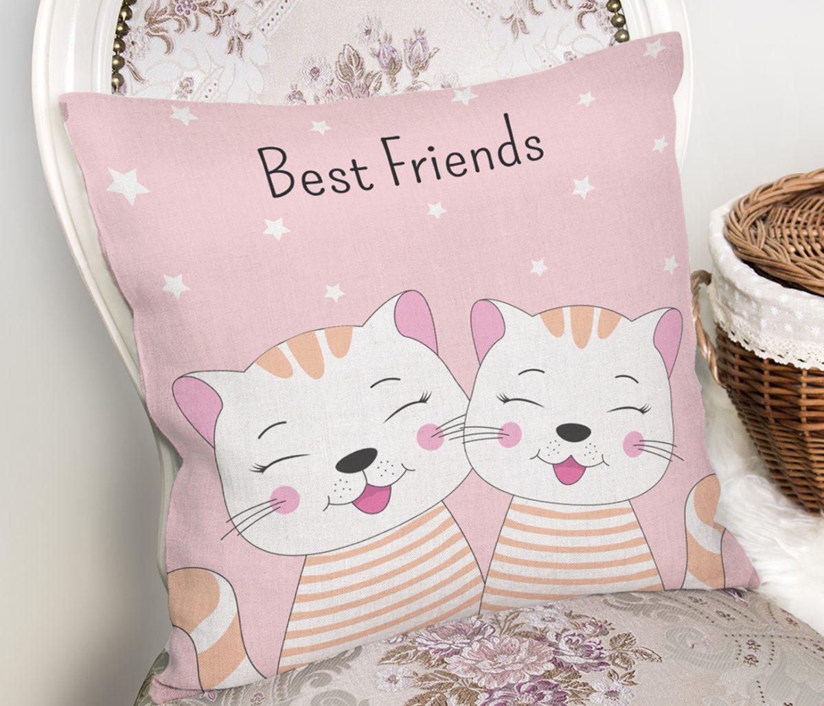 Best Friends Kediler Özel Tasarımlı Kırlent Kılıfı Realhomes