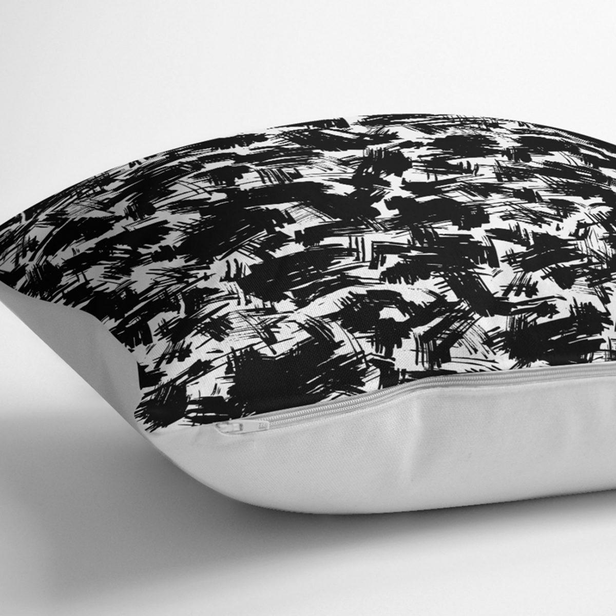 Beyaz Zeminde Anlamsız Çizgiler Desenli Yastık Kılıfı Realhomes