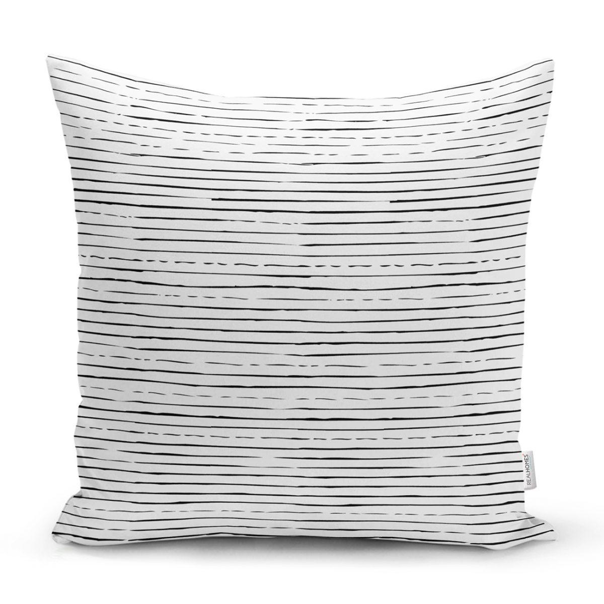 Modern Siyah Beyaz Çizgi Motifli Dekoratif Kırlent Kılıfı Realhomes