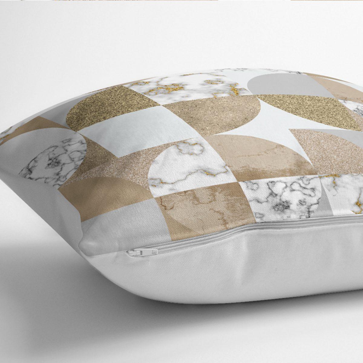 Geometrik Altın Varaklı Mermer Desenli Kırlent Kılıfı Realhomes