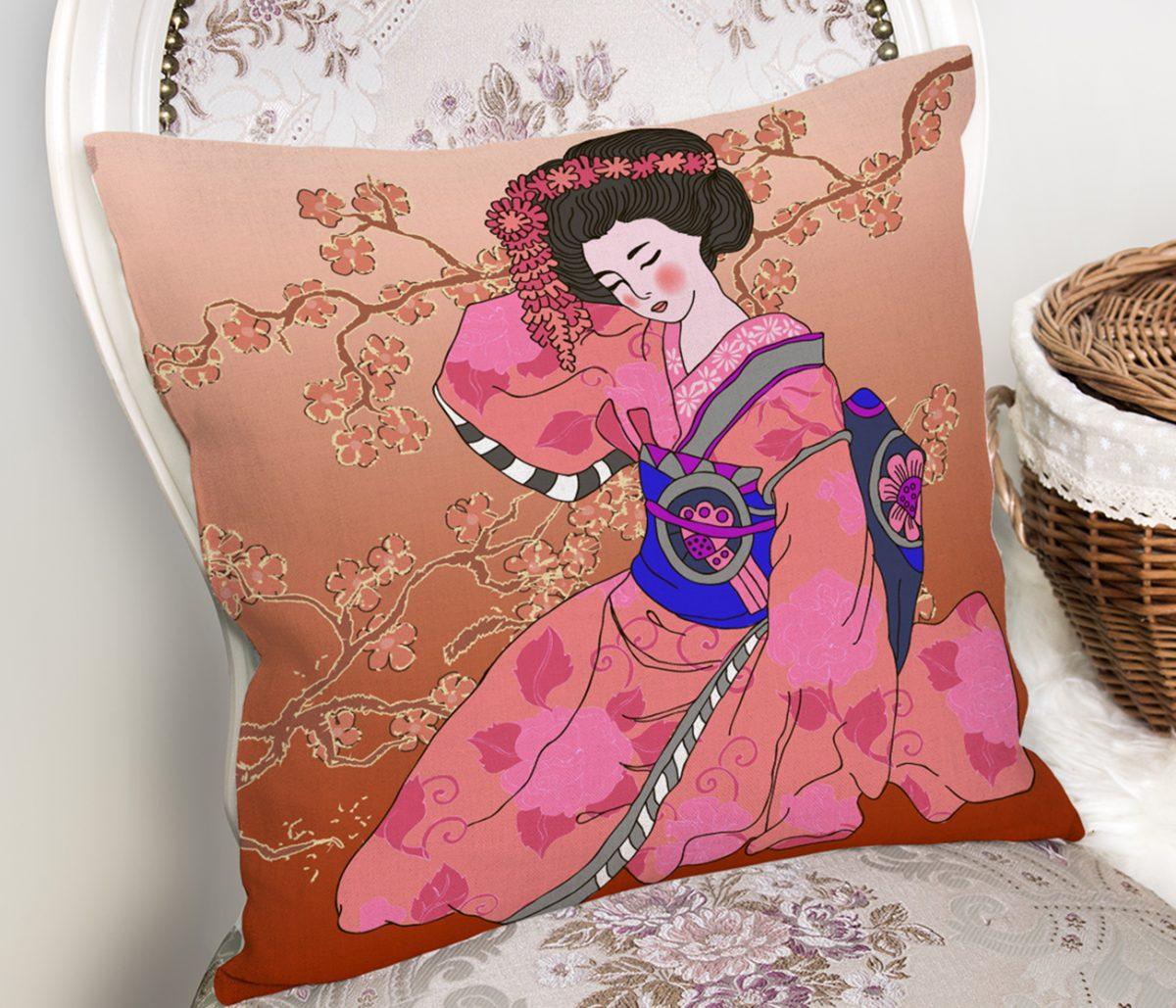 Çiçek Motifleri Üzerinde Japon Kız Desenli Modern Yastık Kılıfı Realhomes