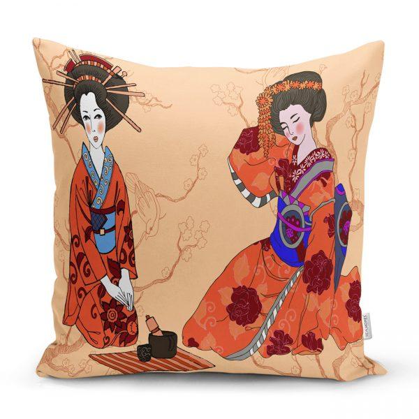 Uzak Doğu Kültürlü Japon Kadın Dijital Baskılı Dekoratif Kırlent Kılıfı Realhomes