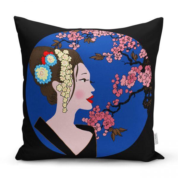 Çiçek Motifli Japon Kız Desenli Dekoratif Yastık Kılıfı Realhomes