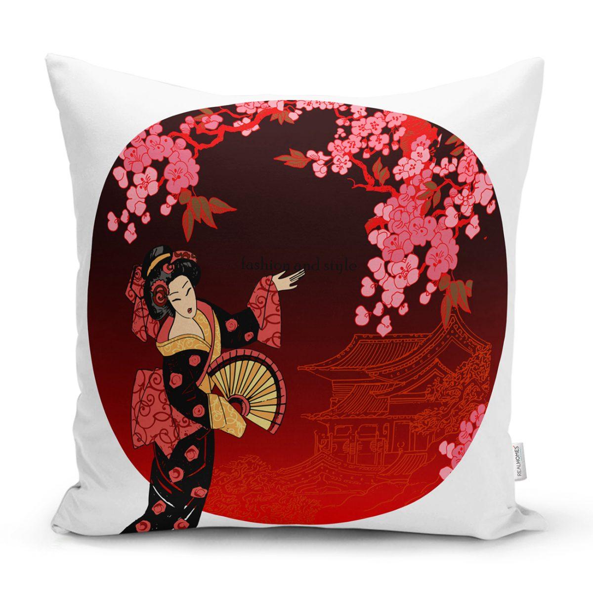Çiçek Desenli Yelpazeli Japon Kız Motifli Modern Kırlent Kılıfı Realhomes