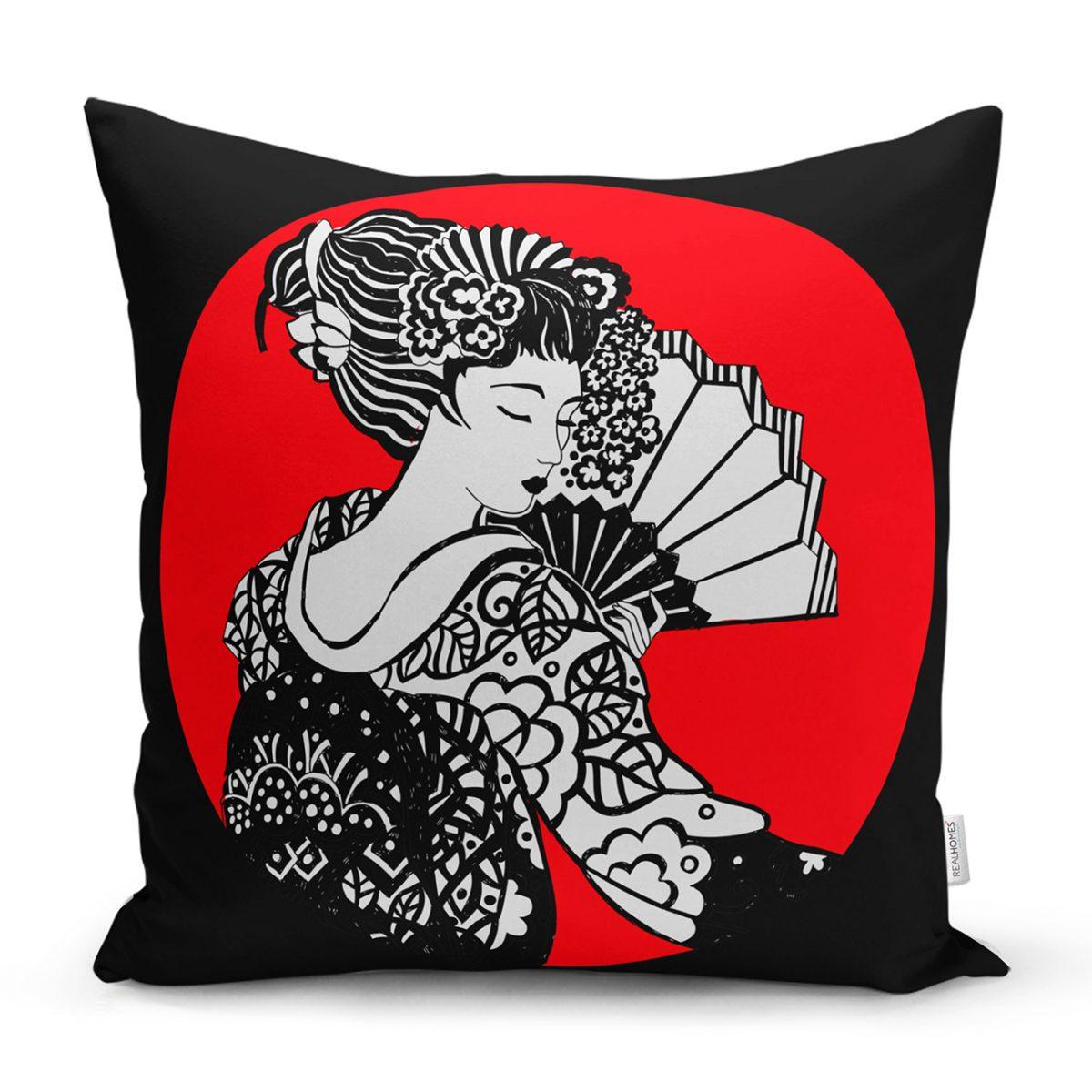 Siyah ve Kırmızı Zeminde Gri Japon Kız Motifli Yastık Kılıfı Realhomes