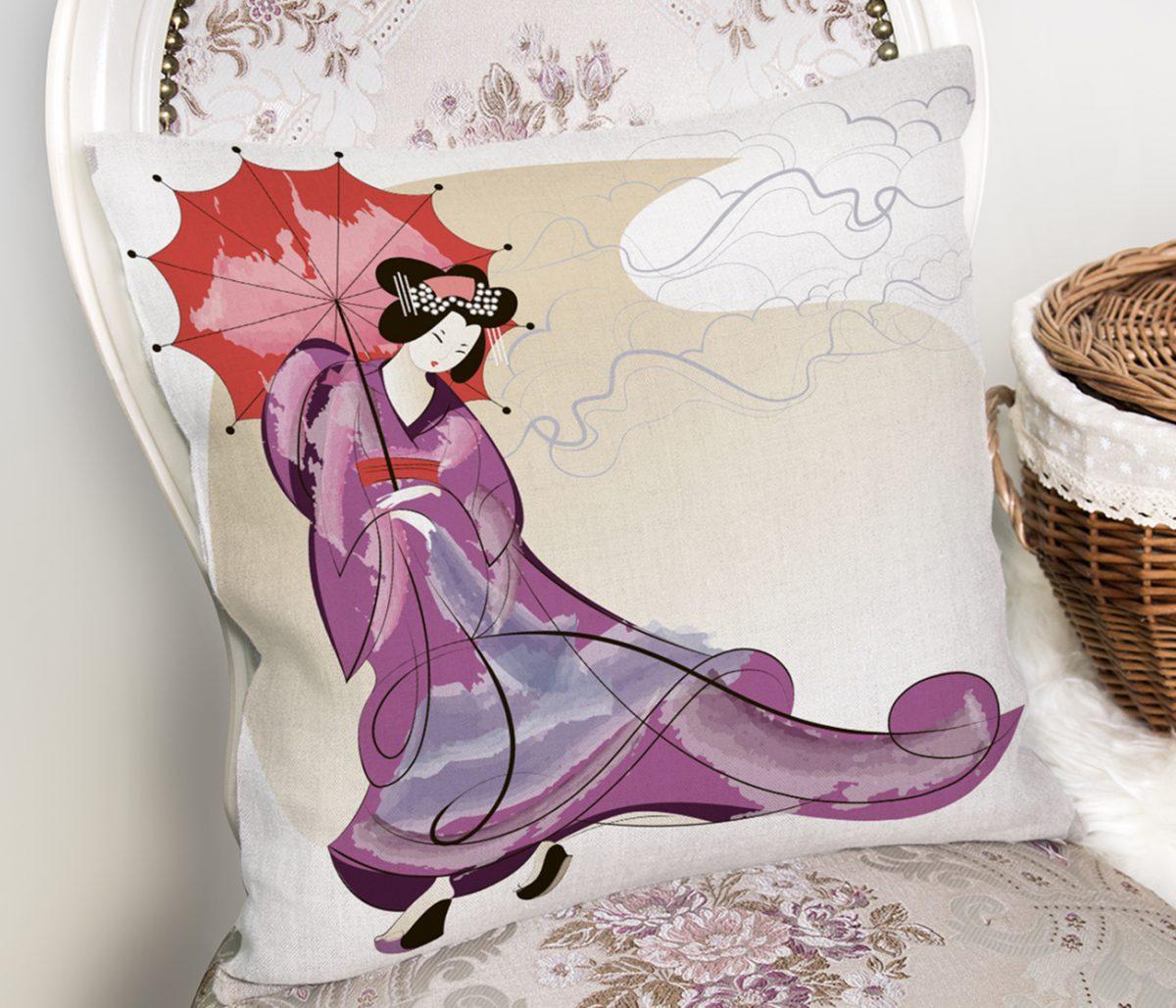 Mor Elbiseli Kırmızı Şemsiyeli Japon Kadın Desenli Modern Kırlent Kılıfı Realhomes