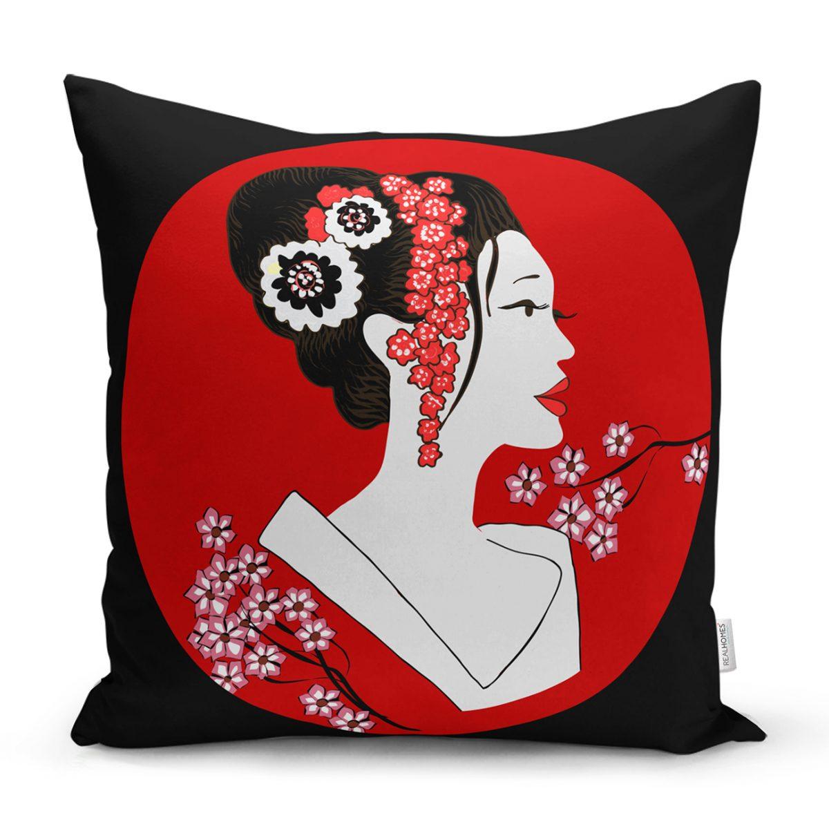 Siyah ve Kırmızı Zeminli Japon Kız Modern Kırlent Kılıfı Realhomes