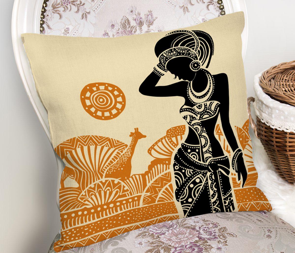 Etnik Desen Zeminli Afrika Kadın Motifli Dekoratif Yastık Kılıfı Realhomes